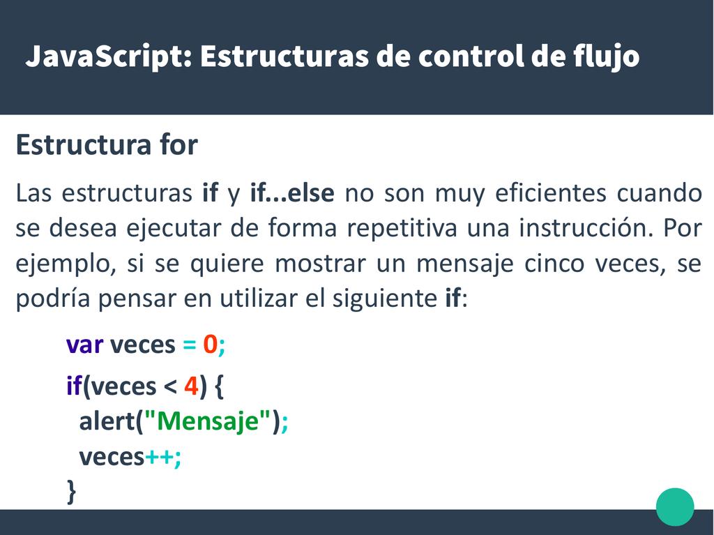 Javascript Estructuras De Control De Flujo Estructura For