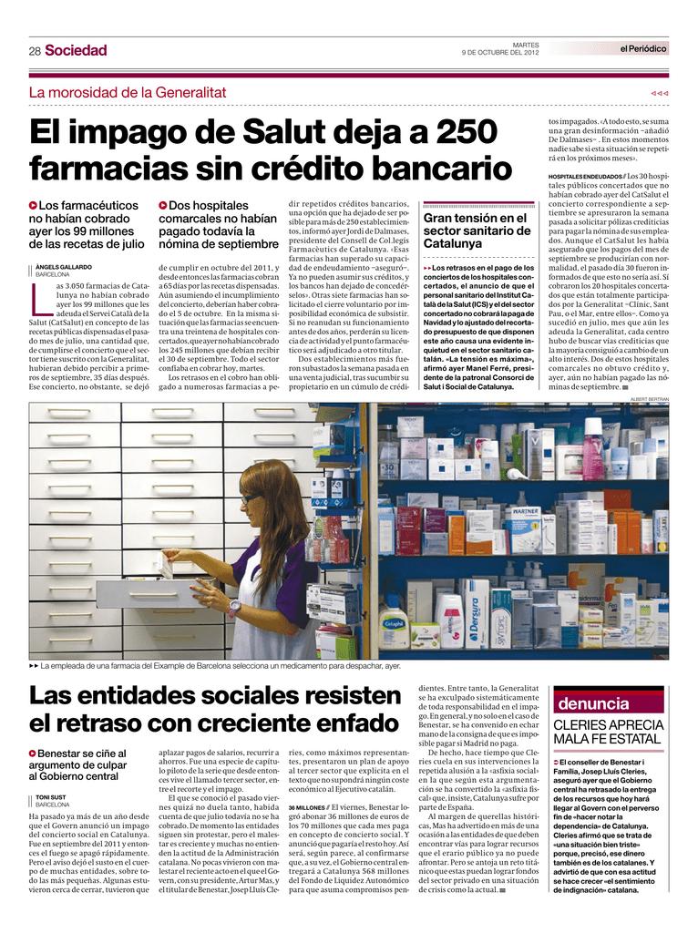 El impago de Salut deja a 250 farmacias sin crédito bancario 72bcaed1046