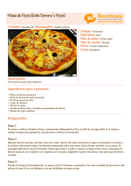Masa de Pizza (Estilo Domino´s Pizza)