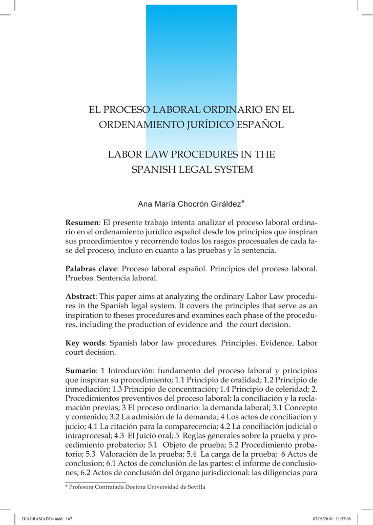 el proceso laboral ordinario en el ordenamiento jurídico