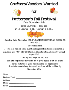 Crafters/Vendors Wanted for Patterson`s Fall Festival