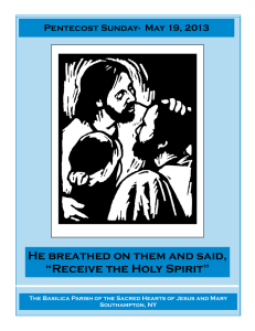 "He breathed on them and said, ""Receive the Holy Spirit"""