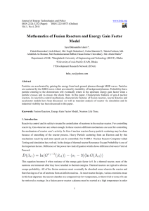 Mathematics of Fusion Reactors and Energy Gain Factor Model