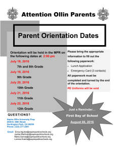 Parent Orientation Dates