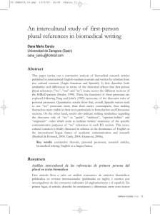 An intercultural study of first-person plural references in biomedical