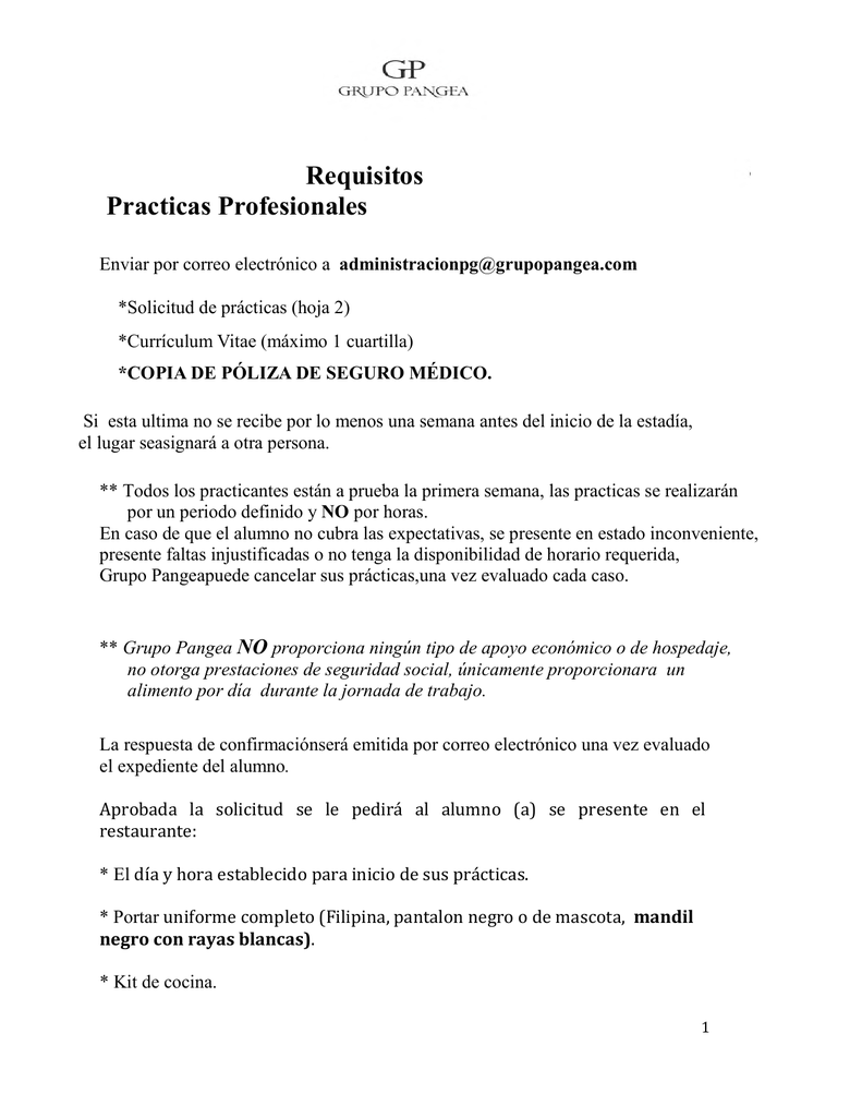 requisitos para Prácticas Profesionales