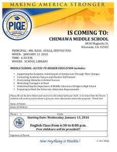 is coming to: chemawa middle school