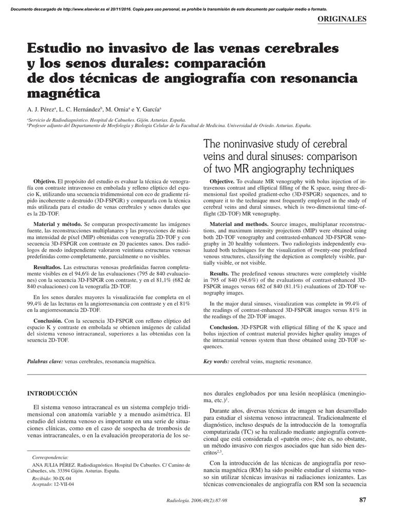 Estudio no invasivo de las venas cerebrales y los senos durales