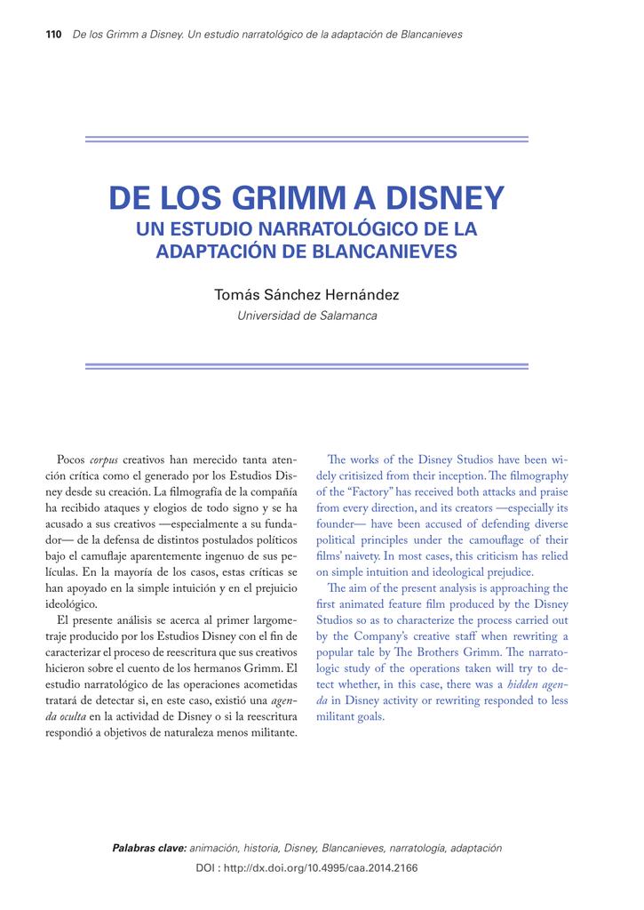 De Los Grimm A Disney Riunet Repositorio Upv