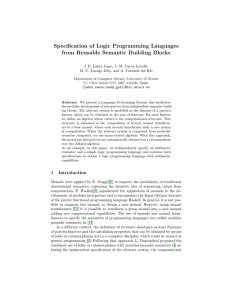 Specification of Logic Programming Languages from Reusable