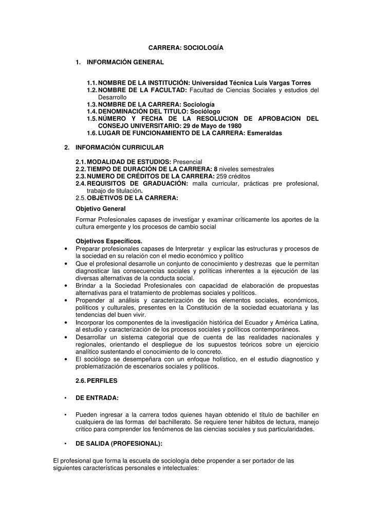 Carrera de Sociología - Universidad Técnica Luis Vargas Torres de