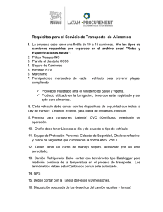 Requisitos para el Servicio de Transporte de Alimentos