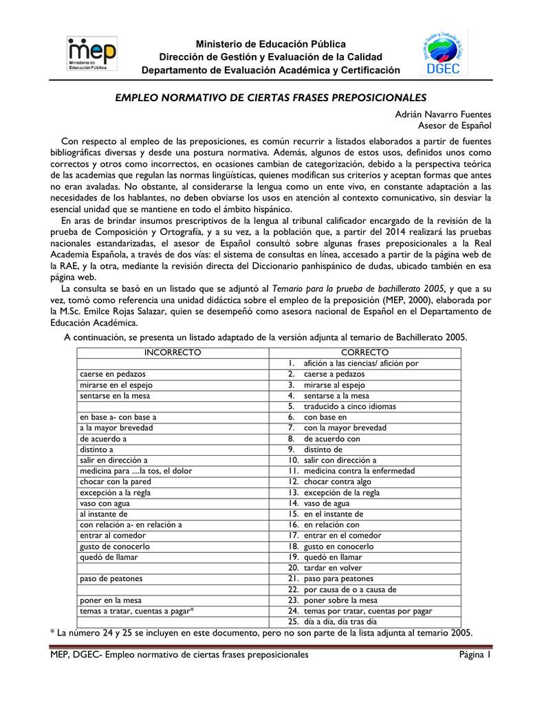 Empleo Normativo De Ciertas Frases Preposicionales