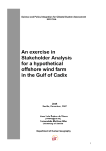 An exercise in Stakeholder Analysis for a hypothetical offshore wind