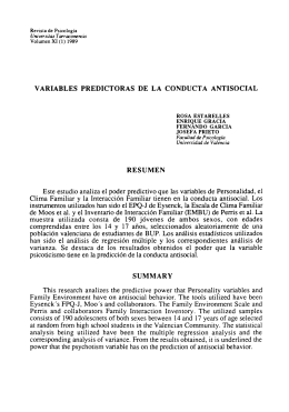 VARIABLES PREDICTORAS DE LA CONDUCTA ANTISOCIAL