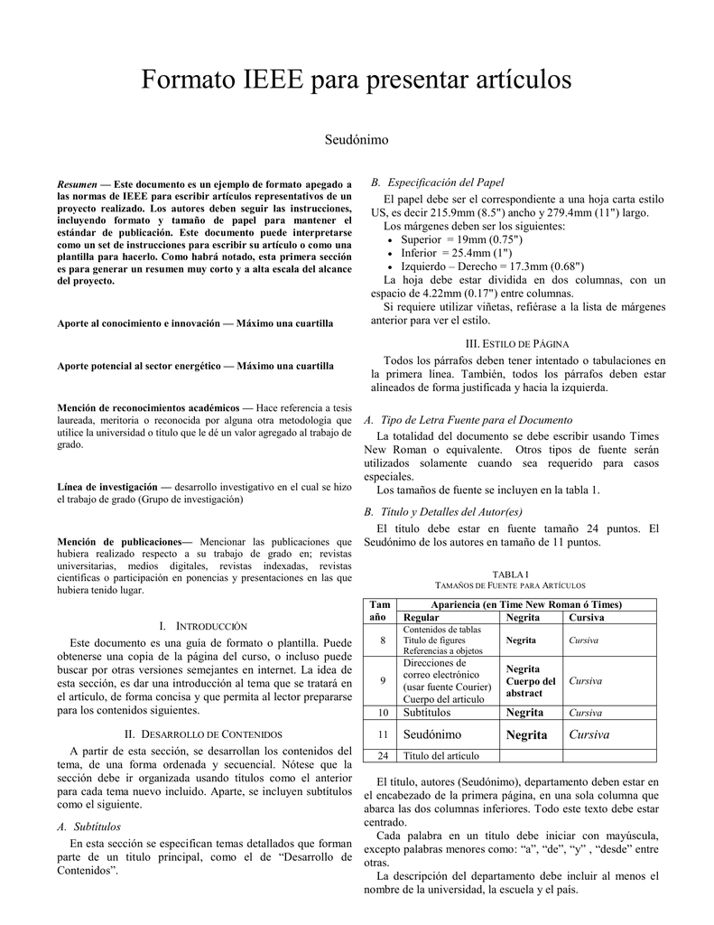 Formato IEEE para presentar artículos