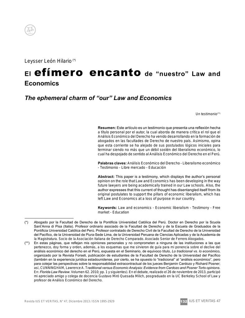 """El efímero encanto de """"nuestro"""" Law and Economics"""