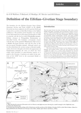 Definition of the Eifelian—Givetian Stage boundary