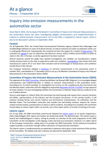 Inquiry into emission measurements in the automotive sector