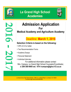 2016-17 Le Grand Academies Application