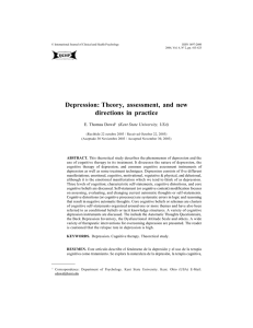 Depression: Theory, assessment, and new directions in practice