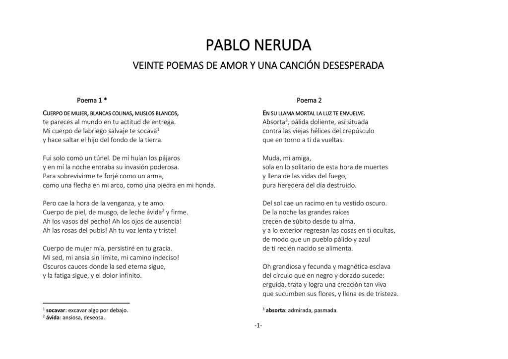 Pablo Neruda Veinte Poemas De Amor