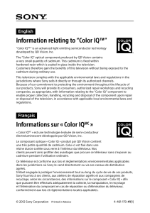 "Information relating to ""Color IQ™"" Informations sur « Color"