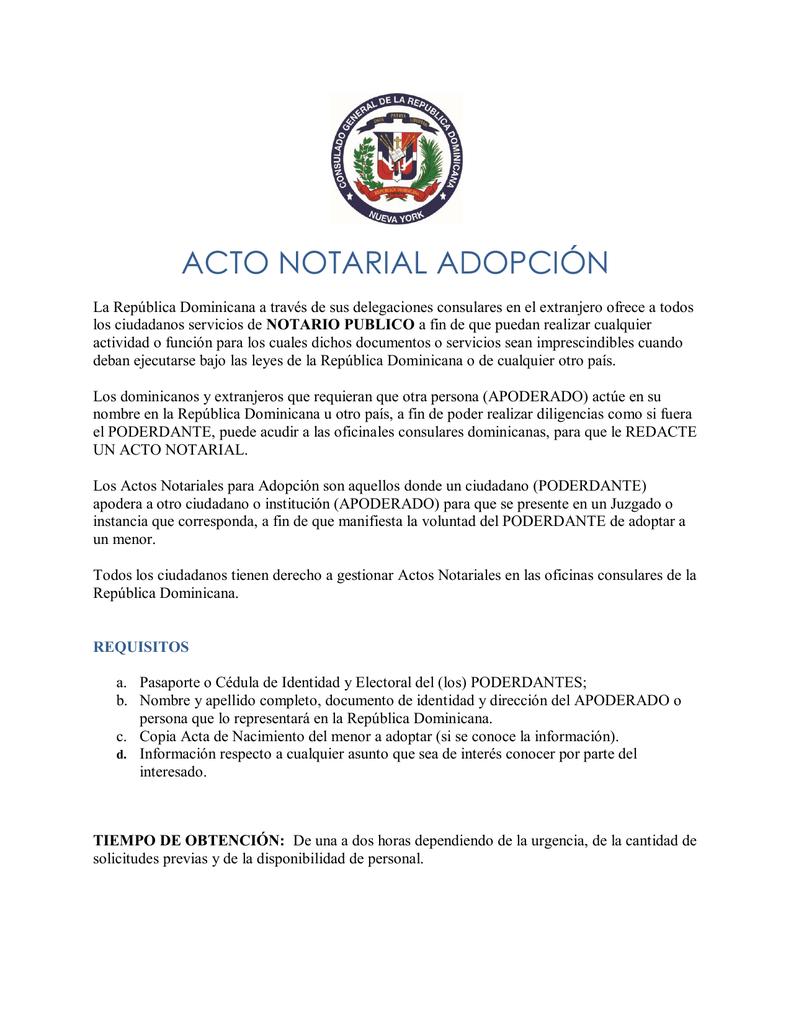 acto notarial adopción - Consulado Dominicano en NY
