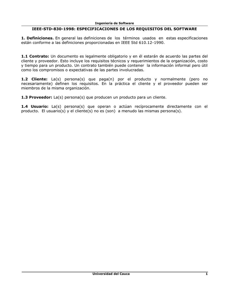 Documento IEEE 830 - Universidad del Cauca