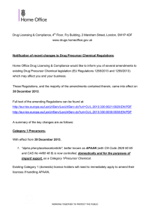 Notification of recent changes to Drug Precursor Chemical