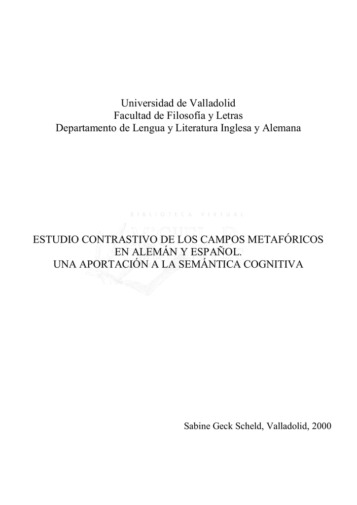 Estudio contrastivo de los campos metafóricos en alemán y español