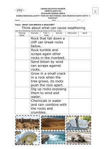 Think about what can cause weathering Rock that fall down a cliff