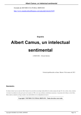 Albert Camus, un intelectual sentimental