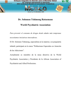 Dr. Solomon Tshimong Rataemane World Psychiatric Association