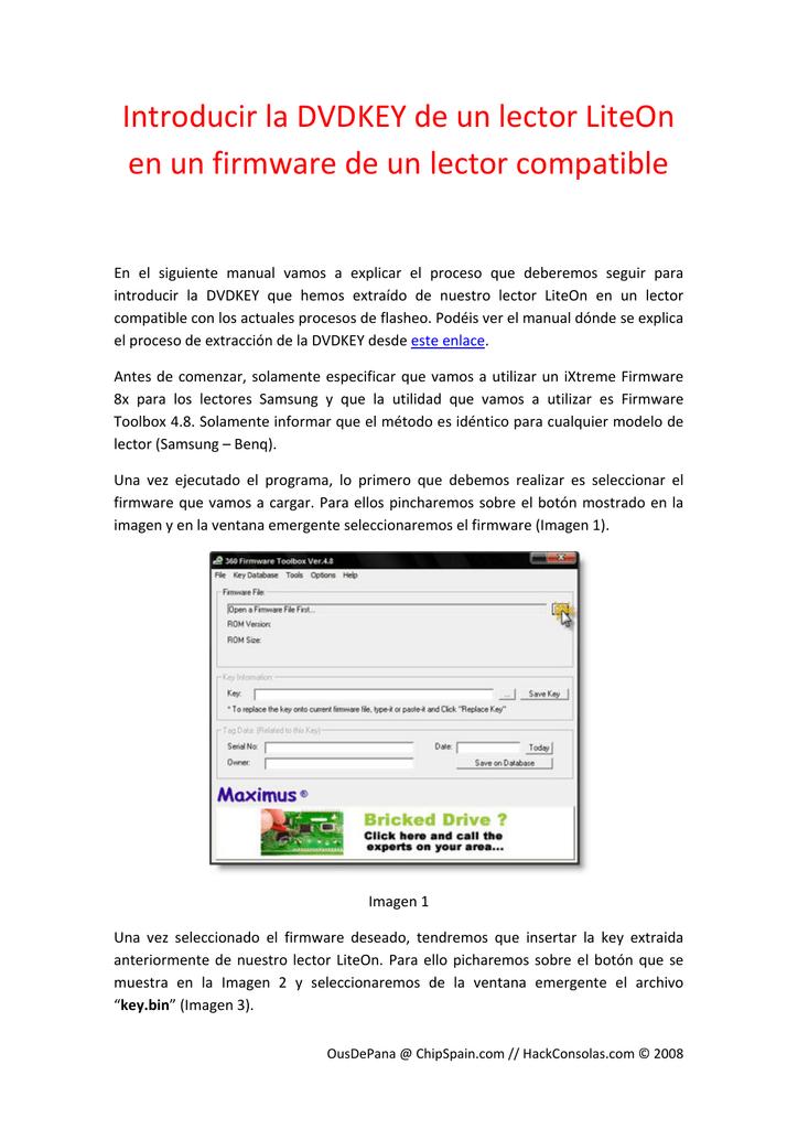 Introducir la DVDKEY de un lector LiteOn en un firmware de un