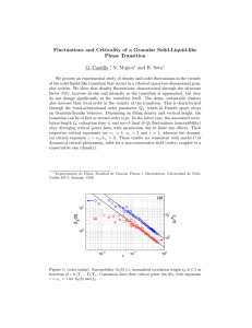 Fluctuations and Criticality of a Granular Solid-Liquid-like