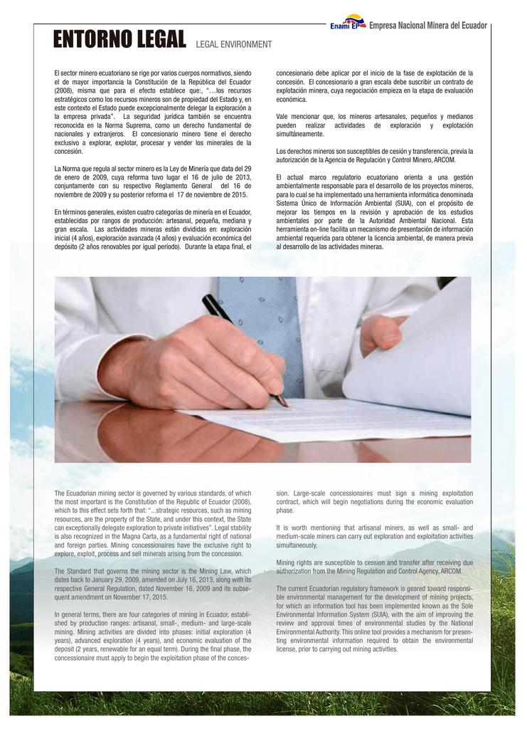 Marco Legal Empresa Nacional Minera Del Ecuador Enami Ep