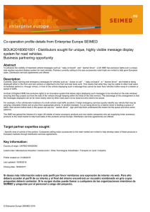 Co-operation profile details from Enterprise Europe SEIMED