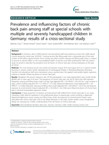Prevalence and influencing factors of chronic back pain among staff