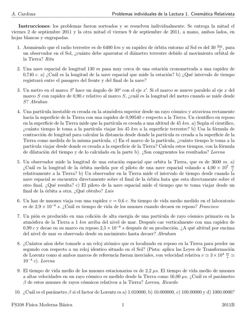 A. Cardona Problemas individuales de la Lectura 1. Cinemática