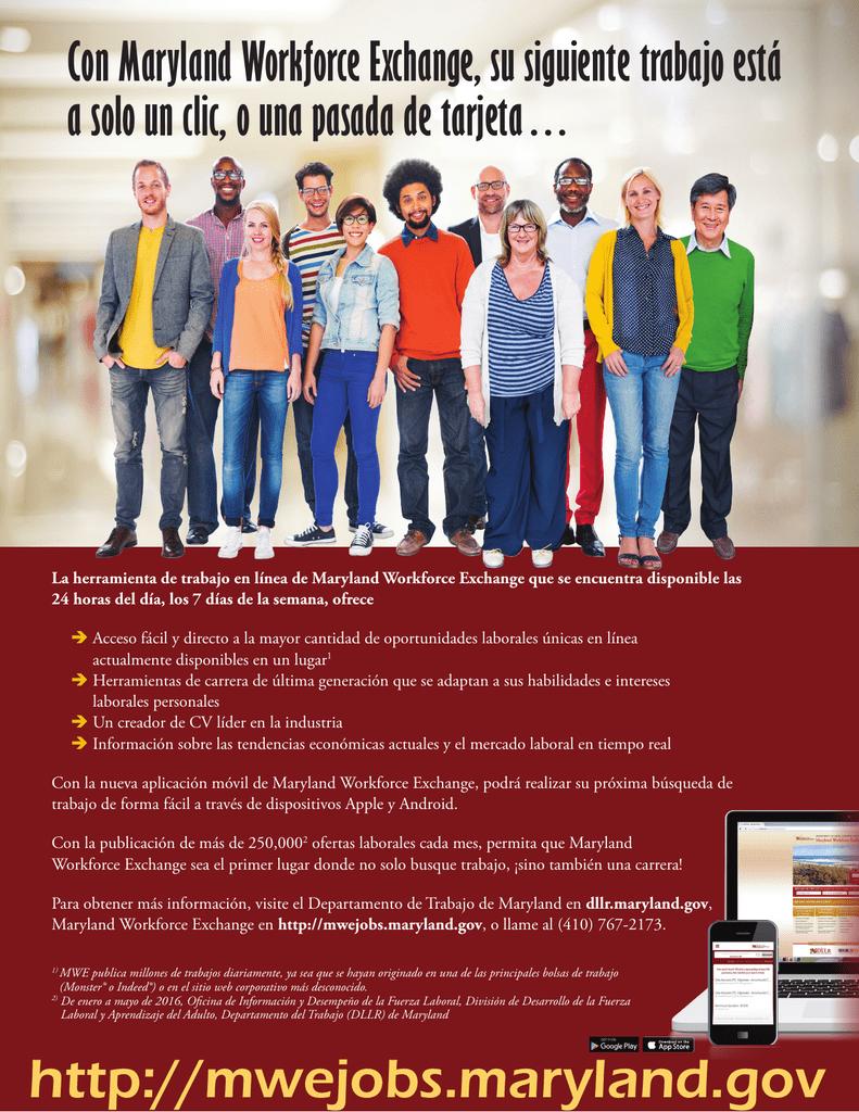 Con Maryland Workforce Exchange, su siguiente trabajo está a solo