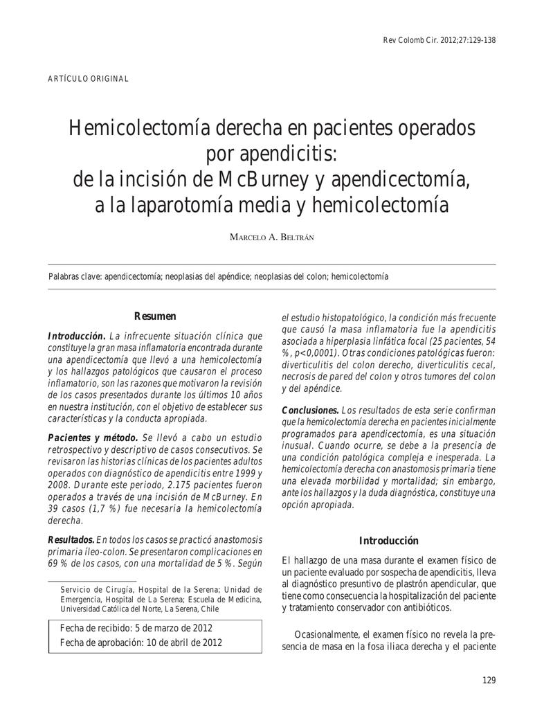 hemicolectomia derecha y perdida de peso