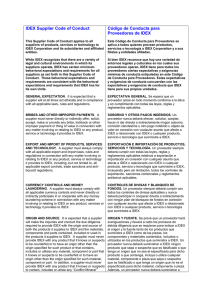 IDEX Supplier Code of Conduct Código de Conducta para
