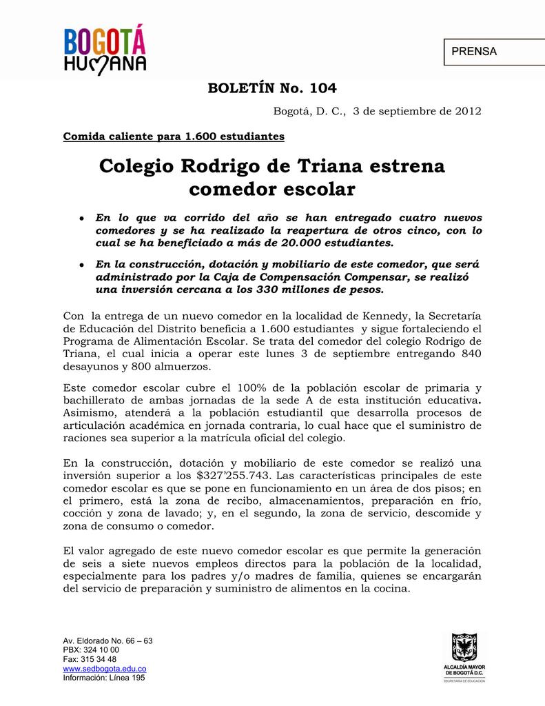 BOLETÍN No. 104- Apertura comedor escolar Rodrigo Triana