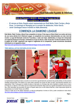 COMIENZA LA DIAMOND LEAGUE
