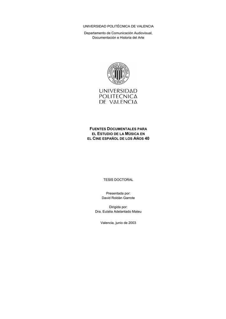 ef97b70b0 UNIVERSIDAD POLITÉCNICA DE VALENCIA Departamento de