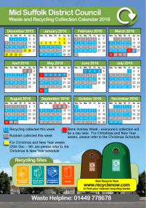 Bin Collection Calendar 2016 - Mid Suffolk District Council
