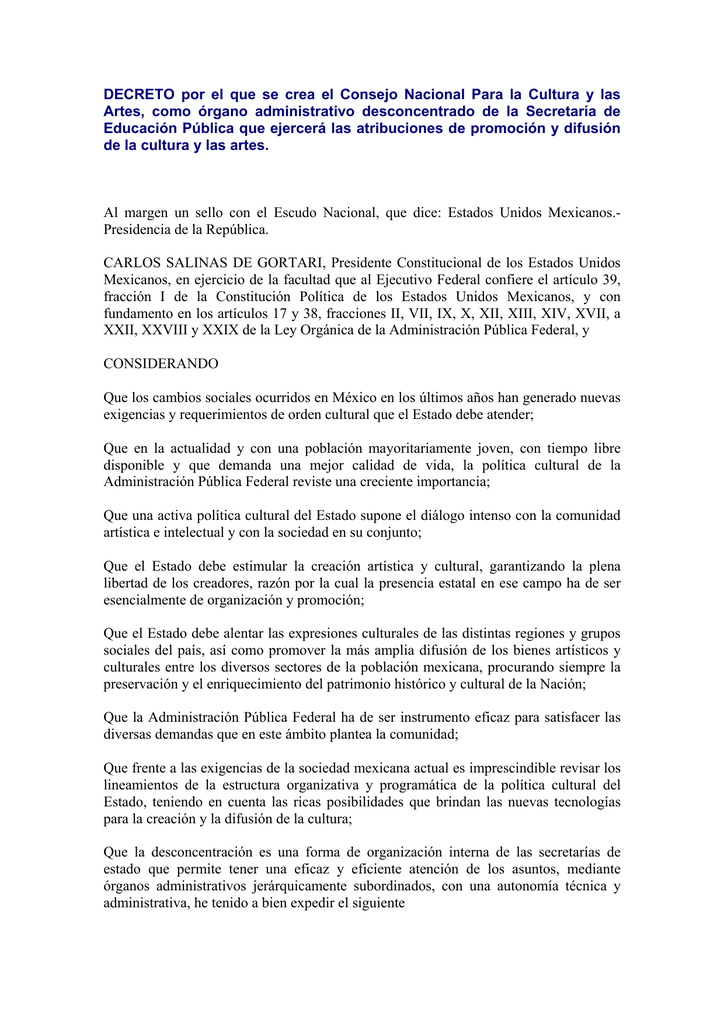 Decreto Por El Que Se Crea El Consejo Nacional