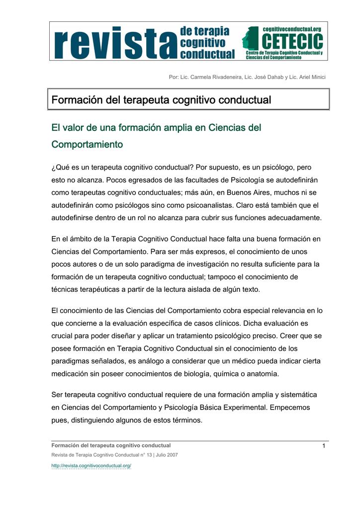 Formación del terapeuta cognitivo conductual