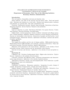 syllabus of mathematics for economics i